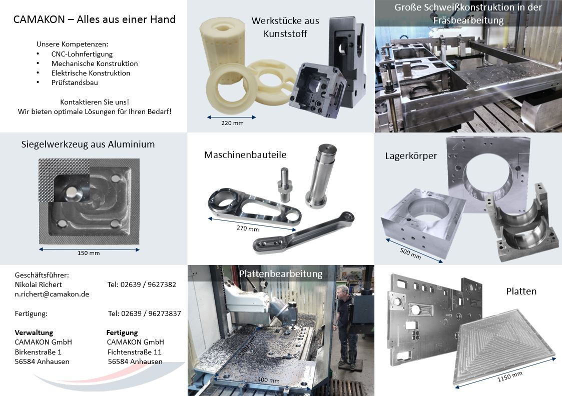 CAMAKON Flyer Werkzeugbau Fertigungsbeispiele